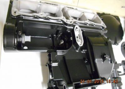 Engine-casings-finished-in-powder-coat-satin-black-